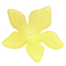 Lucite Plumeria Flower Beads Matte Lemon Yellow 26mm (6)
