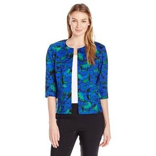 Kasper Floral Print 3/4 Sleeve Open Front Jacket - 6
