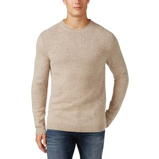 Tasso Elba Textured Crewneck Sweater Vanilla Neps Beige Medium M