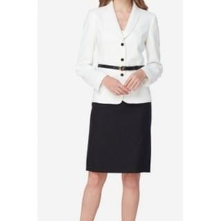 Tahari By ASL NEW Black White Women's Size 6 Belt Skirt Suit Set