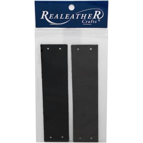 """Realeather Crafts Filigree Bracelet Leather Blanks 1.5""""-Black/Charcoal"""