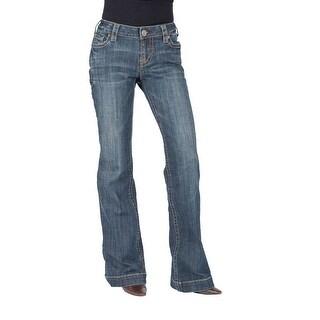 Stetson Western Denim Jean Women Flare Stitch Blue