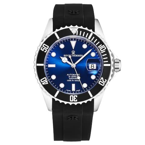 Revue thommen men's 'diver' blue dial rubber strap swiss automatic watch 17571.2823