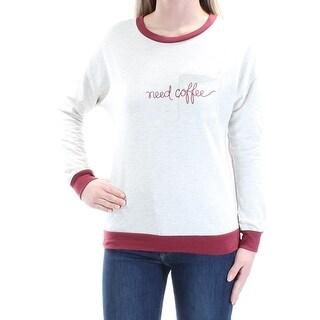 Womens Beige Maroon Need Coffee Long Sleeve Jewel Neck Sweater Size XS