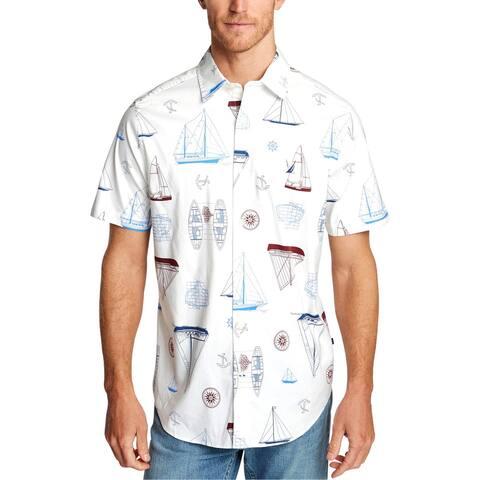 Nautica Blue Mens Big & Tall Blue Sail Button-Down Shirt Printed Cotton Blend - Bright White - 3XL