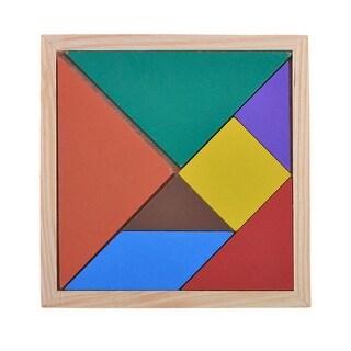 Kids 7 Parts Wooden Geometry Puzzle Brain Training Rainbow Tangram 14cmx14cm