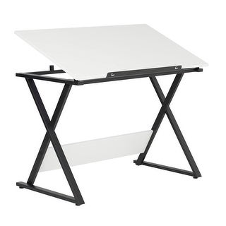 Offex Axiom Drawing Table - Charcoal/White
