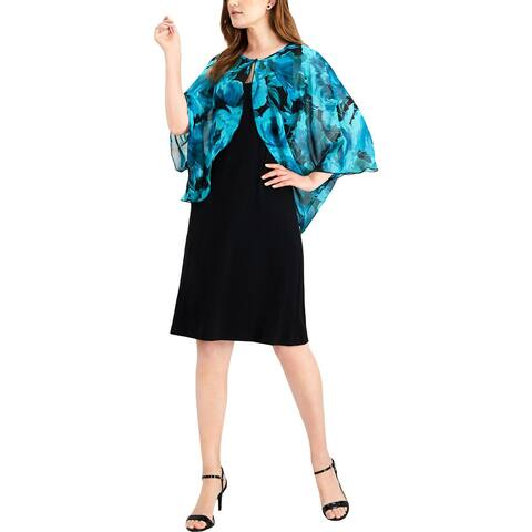 Connected Apparel Womens Dress With Cardigan Chiffon Floral Print