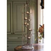"36"" Rustic Chic 5-Tea Light Candle Holder Bird Cage with Spotted Bird Accents - Brown"