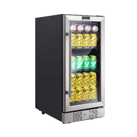 15 in. Single Zone 84-Can Beverage Refrigerator in Stainless Steel