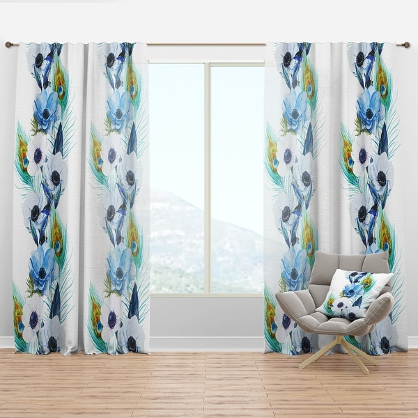 Designart 'Handpainted Anemones And Peacock Feathers' Floral Curtain Panel. Opens flyout.