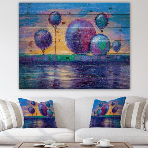 Designart 'River Bank Paintings In Evening Glow' Farmhouse Print on Natural Pine Wood
