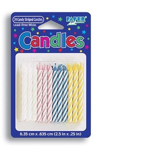 Pack Of 24 Candy Stiped Candles Multiple Colors