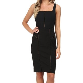 Nicole Miller NEW Black Womens 10 Square-Neck Stitched Sheath Dress