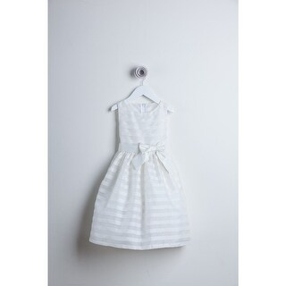 Sweet Kids White Striped Organza Bow Sash Flower Girl Dress 4-12 (5 options available)