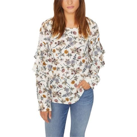 Sanctuary Clothing Womens Floral Ruffled Blouse