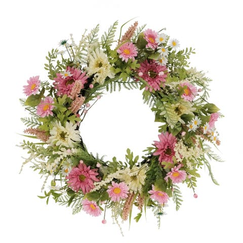 """24"""" Artificial Chrysanthemum And Daisy Floral Spring Wreath"""
