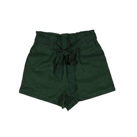 Lori & Jane Girls Green Tie Belted Waist Pocket Lenan Shorts