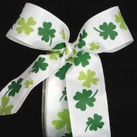 """White with Green Shamrock Print Wired Craft Ribbon 1.5"""" x 27 Yards"""
