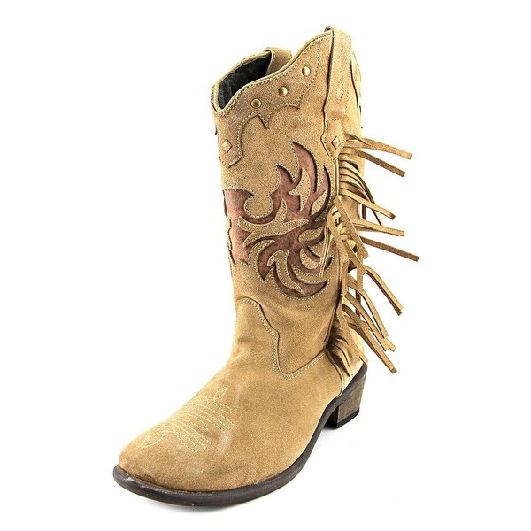 Roper Fringes Round Toe Suede Western Boot