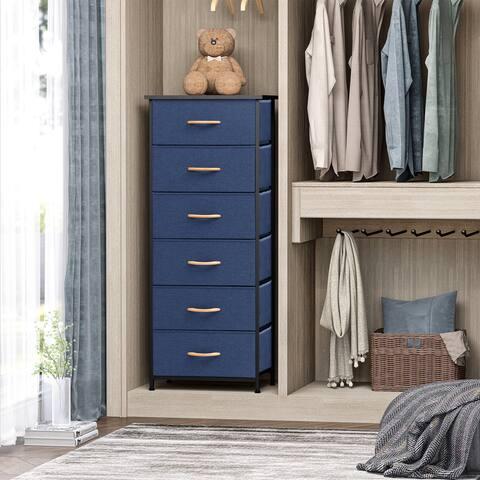 6 Drawers Chest - Vertical Storage Tower Steel / Wood / Fabric Dresser