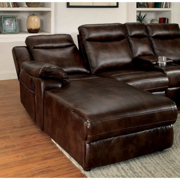 Shop Furniture Of America Faux Leather Reclining Sectional With Chaise On Sale Overstock 12509889