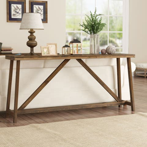 Extra-long sofa table, solid wood behind the sofa table