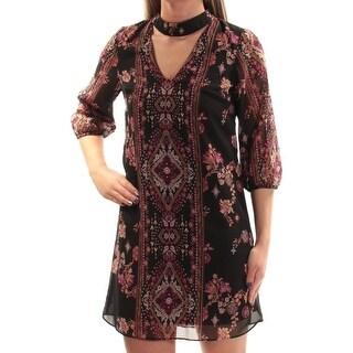BCX $59 Womens New 1098 Black Printed Cut Out Shift Dress 2XS Juniors B+B
