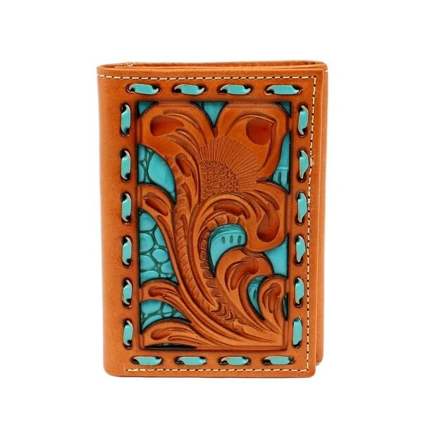 Nocona Western Wallet Mens Trifold Buck Lace Turquoise - One size