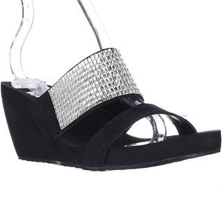 Yellow Box Olivia Gemmed Wedge Slide Sandals - Black Clear