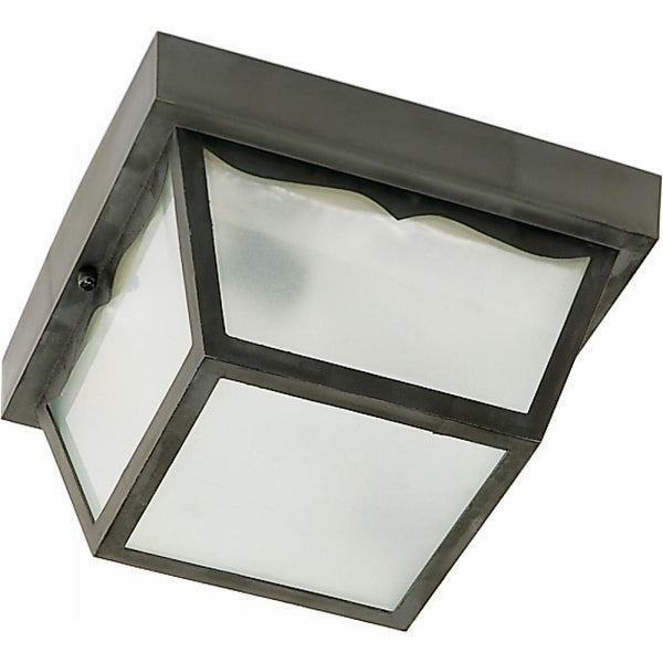 "Nuvo Lighting 77/863 1-Light 8-1/4"" Wide Outdoor Flush Mount Square Ceiling Fixture with Frosted Glass Shade - Black - N/A"