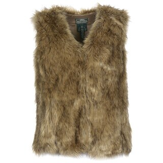 Lauren Ralph Lauren Womens Faux Fur Vest Petite Large Brown