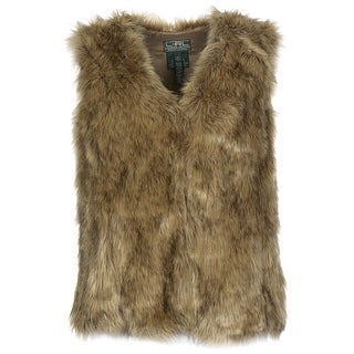 Lauren Ralph Lauren Womens Faux Fur Vest Petite Small Brown