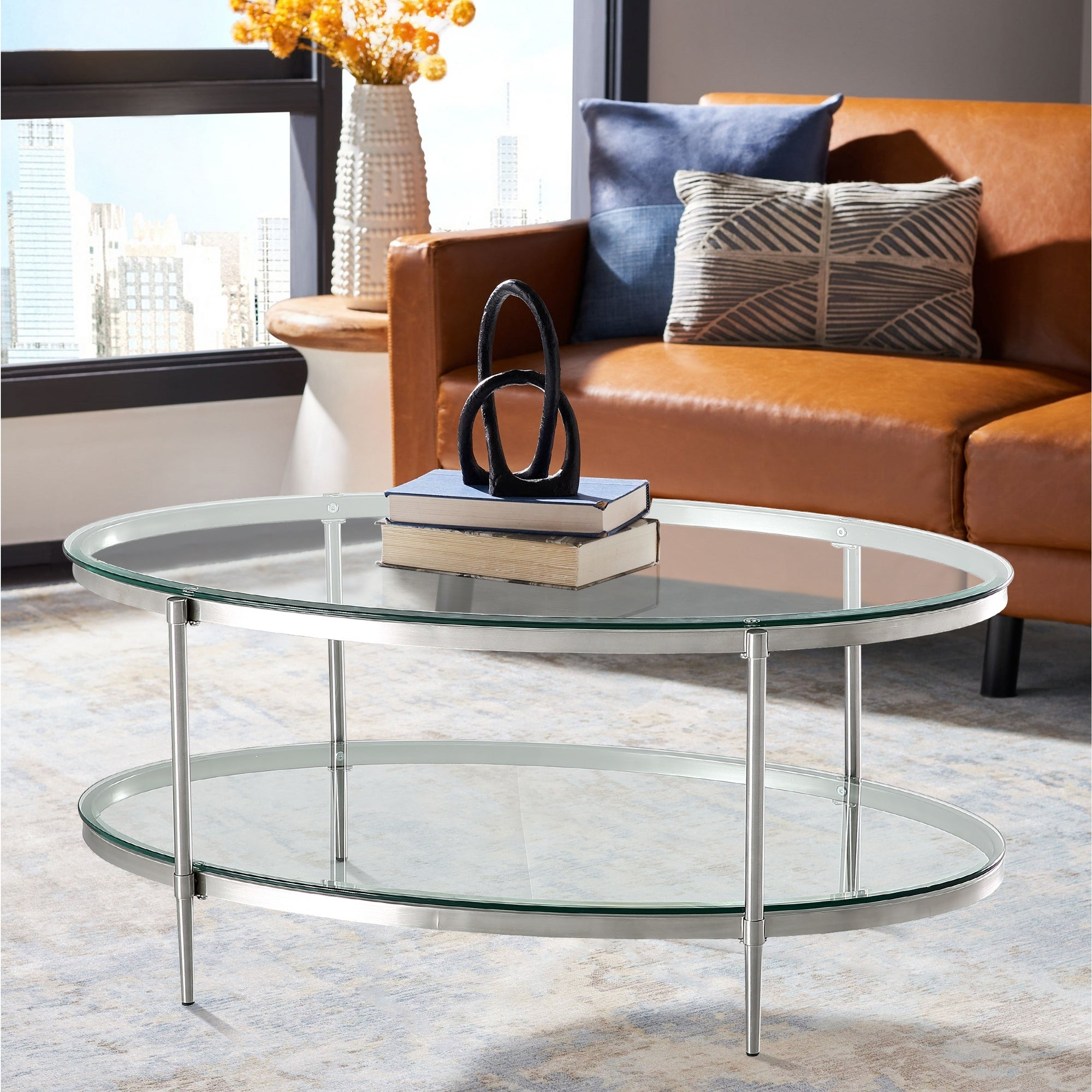 Home 2 Tier Modern Oval Glass Coffee Table Overstock 31938821
