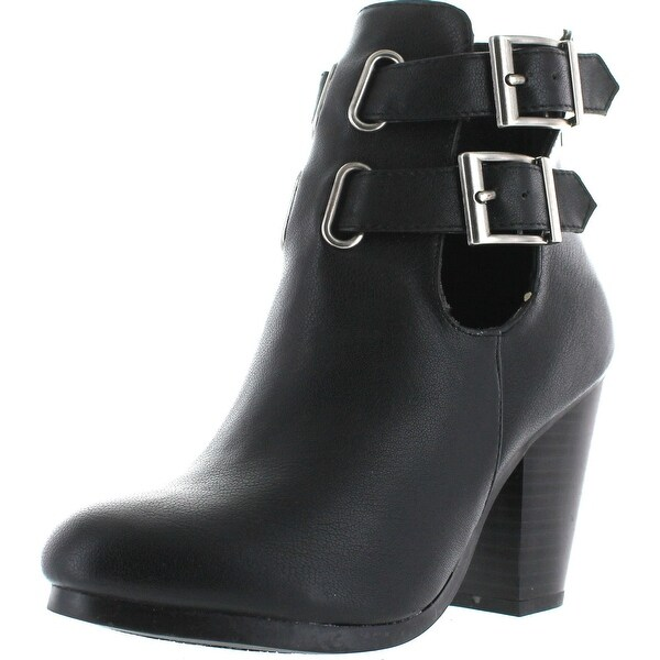 Breckelles Bg27 Women Leatherette Cut Out Buckle Chunky Heel Bootie - Black