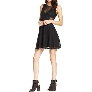 Material Girl Womens Juniors Skater Dress Lace Mesh Inset