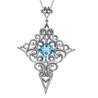 Evert DeGraeve 5 5/8 ct Natural Baby Blue Topaz Cross Pendant in Sterling Silver