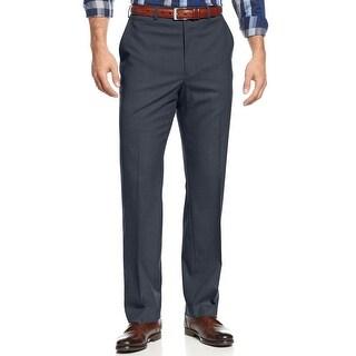 Michael Kors Big and Tall Flat Front Hemmed Dress Pants Blue Solid 42 x 32