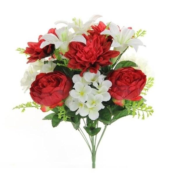Admired by Nature GPB7813-RD-CM Artificial Peony Dahlia Hydrangea Mix Flower Bush