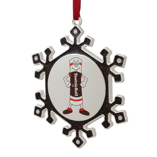 """3.5"""" Silver Plated SnowflakeToostie Roll Man Candy Logo Christmas Ornament with European Crystals - brown"""
