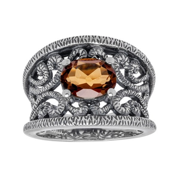 1 5/8 ct Cognac Quartz Ring in Sterling Silver