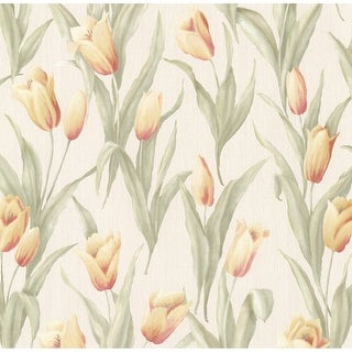 Brewster 347-20143 Denning Yellow Satin Tulip Texture Wallpaper