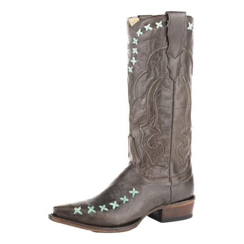 """Stetson Western Boot Women Wren X Stitch 13"""" Brown"""