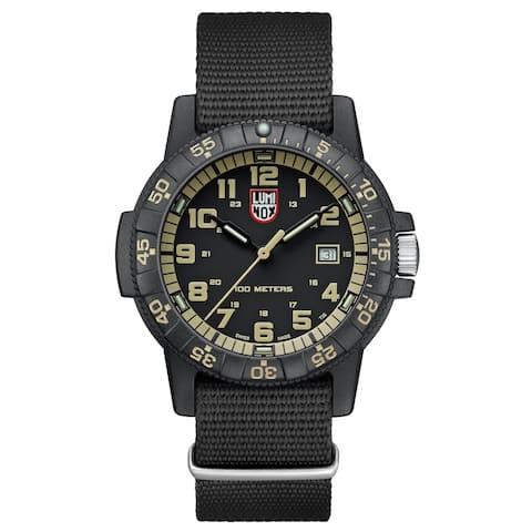 Luminox Men's XS.0333 Leatherback Sea Turtle Black/ Green Accents Black Webbing Strap Watch