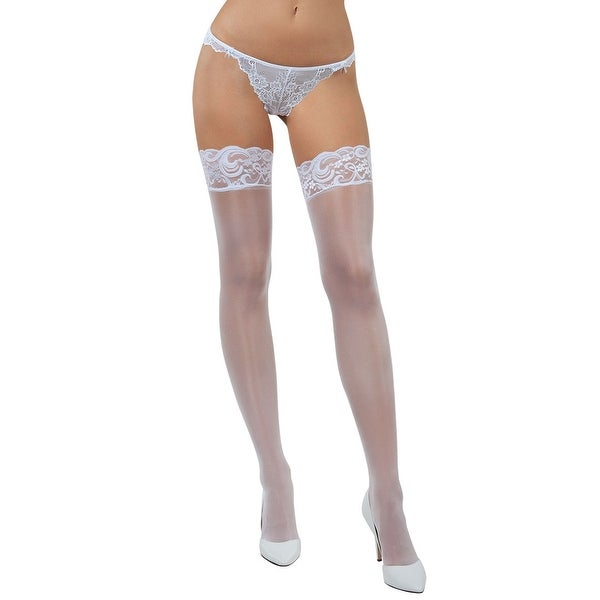 370170846d7307 Shop Lace Top Thigh High Stockings - White - One Size Fits Most - Free  Shipping On Orders Over $45 - Overstock - 27738292
