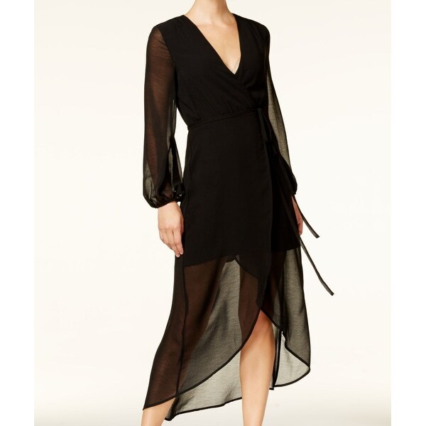 Shop Bardot Black Womens Size 6 Sheer High Low Illusion Wrap Dress