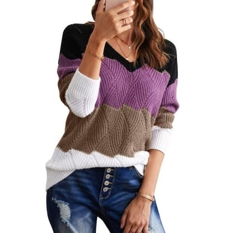 Color Block Pullover Casual Knit Sweater