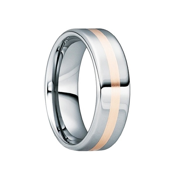 CASSIANUS Tungsten Carbide Polished Wedding Band with 18K Rose Gold Inlay by Crown Ring - 6mm