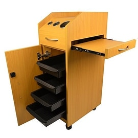 LCL Beauty Locking 4-Drawer Oak Rolling Workstation Trolley with Tool Holders