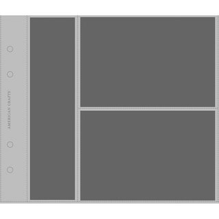 """American Crafts Top-Loading Page Protectors 8""""X8"""" 10/Pkg-(1) 2""""X8.25"""" & (2) 6""""X4"""" Pockets"""